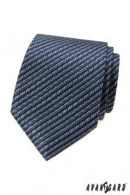 Modrá kravata s pruhovaným vzorom