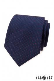 Modrá kravata s malými červenými bodkami