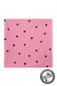 Ružová bavlnená vreckovka so srdiečkami