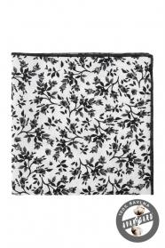 Biela vreckovka s čiernym kvetovaným vzorom