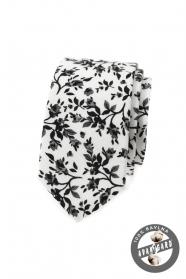 Úzka kravata s kvetinovým vzorom