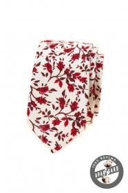 Biela slim kravata s červenými kvetmi