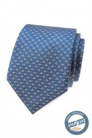 Modrá hodvábna kravata so vzorom