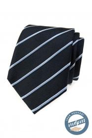 Modrá hodvábna kravata s prúžkom v darčekovej krabičke