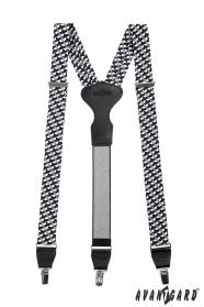 Čiernobiele látkové traky Y zapínanie na klipy - 34 mm