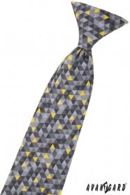Chlapčenská kravata s šedým vzorom 31 cm
