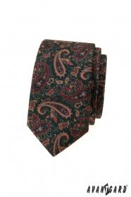 Zelená slim kravata s farebným Paisley vzorom