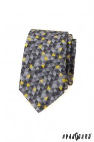 Šedá slim kravata s trojuholníkovým vzorom