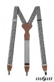 Pánske traky s trojuholníkovým vzorom, hnedá koža