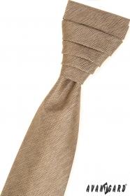 Béžová francúzska kravata v sade s vreckovkou