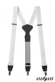 Biele, látkové traky so vzorom, čierna koža, zapínanie na kovové klipy