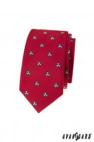 Červená slim kravata futbalová lopta