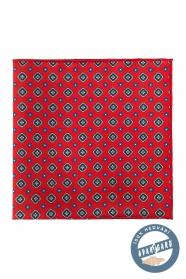 Vreckovka hodvábna červená vzorovaná