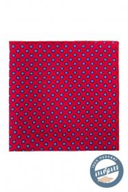 Vreckovka hodvábna červená s modrým vzorom