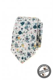 Biela slim kravata s farebnými lúčnymi kvetmi