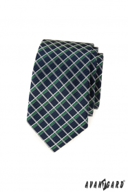 Modrá slim kravata, biele a zelené pruhy