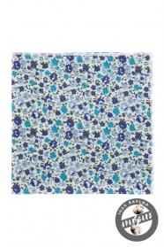 Bavlnená vreckovka s modrými kvetmi