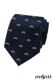 Modrá štruktúrovaná kravata vzor biely bicykel