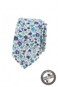 Bavlnená slim kravata s modrými kvetmi