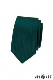 Zelená slim kravata s jemnými štvorčekmi