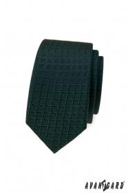 Tmavo zelená slim kravata s mriežkovaným vzorom