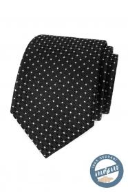 Čierna hodvábna kravata s bielou bodkou