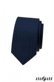 Modrá slim kravata so štvorcovou štruktúrou
