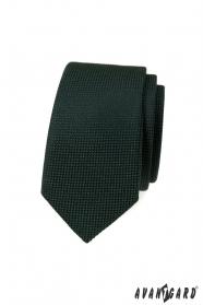Tmavo zelená slim kravata s pletenou štruktúrou