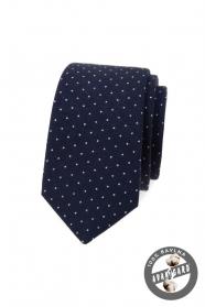 Tmavo modrá bavlnená slim kravata s bielymi bodkami