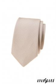 Béžová úzka kravata s bodkami