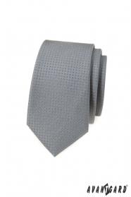 Šedá slim kravata s bodkami
