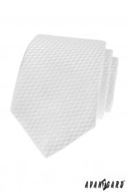 Biela kravata s pruhovanú štruktúrou