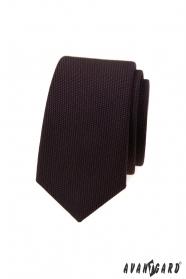 Tmavohnedá luxusné úzka kravata