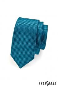 Úzka prešívaná kravata petrolejovej farby