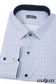 Biela slim košeľa s modrým vzorom
