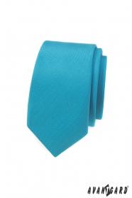 Úzka kravata s tyrkysové matnej farbe