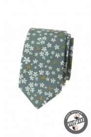Olivovo zelená slim kravata s kvetinovým vzorom