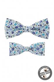 Sada bavlnených motýlikov s modrým kvetinovým vzorom