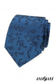 Modrá kravata čierny vzor