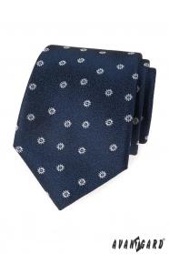 Modrá štruktúrovaná kravata s bielym vzorom