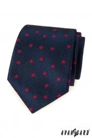 Modrá pánska kravata s červeným vzorom
