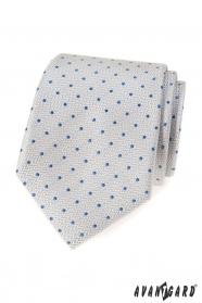 Svetlo šedá kravata s modrými bodkami