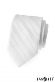 Pánska kravata biela lesklé linky
