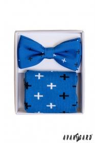 Modré ponožky so vzorom v sete s pánskym motýlikom