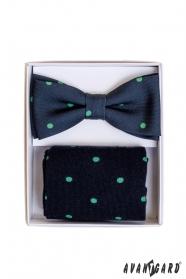 Modré ponožky s bodkami v sete s pánskym motýlikom