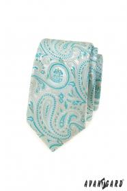 Úzka kravata s mätovým Paisley vzorom