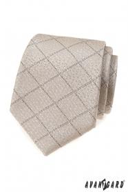 Béžová kravata s mriežkovaným vzorom