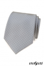 Šedá kravata s bodkami