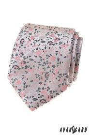 Luxusná sivá kravata s ružovým vzorom