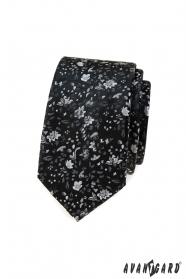 Čierna slim kravata s kvetinovým vzorom